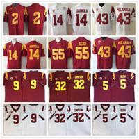 Männer USC Trojans O.J Simpson Sam Darnold Reggie Bush Junior Seau Adoree Jackson Troy Polamalu JuJu Smith-Schuster College Football-Trikots
