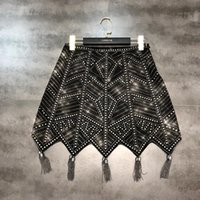 moda europea Nueva alta cintura una línea de forma geométrica diamantes de imitación de las mujeres shinny diseño bling de la borla de las cadenas parcheado falda corta S M L XL