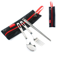 Conjuntos de cubiertos de acero inoxidable Tenedores Cucharas y palillos Trajes de cubiertos para niños Kits de vajilla de cocina de campamento al aire libre con bolsa de malla negra ZZA944