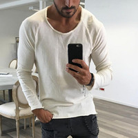 2018 Autumn Spring Fashion magliette degli uomini casuale dal O-collo Slim Fit Solid Tee Shirts Uomo Tempo libero T-shirt Camisetas Hombre