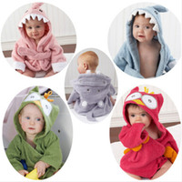 С капюшоном животными халата Симпатичной фланелью Дети акулы лисицей мышью сова моделью Одеяние мультфильм Nightgown Дети Полотенце с капюшоном халаты 22 цвета
