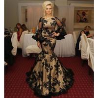 プラスサイズのブラックマーメイドプロムフォーマルドレス2020モダン長袖ジュエルネックアラビアドバイガラレースアップリケ女性イブニングドレス