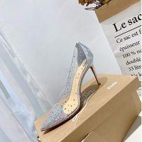 Ücretsiz nakliye, klasik tasarımcı yeni şeffaf PVC parlak elmas kadın topuklu, seksi kadın ziyafet elbise düğün topuklu + kutusu