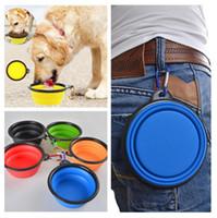Recipiente para perros plegable portátil Silicona plegable Mascota para gatos Alimentación de agua Alimentación para el agua Recipiente para viajes con mosquetón 9 colores de regalo Envío gratis