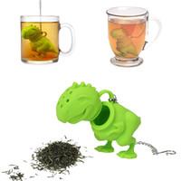 20pic Creative silicone infusion de thé de dinosaure boîte de couleur emballage dinosaur filtre à thé en silicone filtre de sachet à thé de dinosaure en silicone