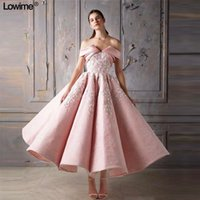 Blush Pink Lace аппликация A-линия платья выпускного вечера Элегантный с плеча кружева вечернее платье Короткое Формальное коктейль платье