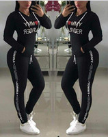 Letter Printed Tracksuit Women Hoodie Pants 2pcs set Casual ...