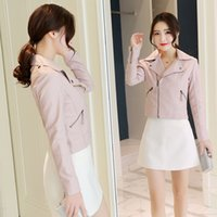 c72a2c8c80e43 New Arrival. New pink leather women s jacket spring and autumn Korean  version ...