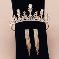 2020 Две пьесы Tiara Eardrop Королева Кристалл Tiara Корона Pageant Аксессуары для волос Свадебный головной убор Скидка для свадебных платьев Дешевые серьги