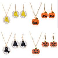 Halloween Schmuck Ghost Kürbis Tropfen Öl Anhänger Halsketten Gold Kette Ohrringe Set 4 Typen Mode Zubehör Großhandel