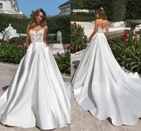 Dentelle élégante robes de mariée bohème appliquée 2020 satin ouvert arrière-plan Spaghetti Beach Boho Plus Tableau Robe de mariée BC2786