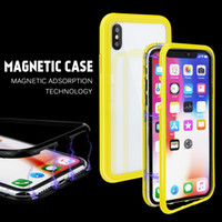 Candy Color Magnetic Adsorption Tempered Glass Phone Case Fo...