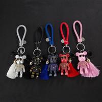 Corée du strass Ours Tassel Keychain Drill Creative porte-clés voiture Pendentif clé Cartoon Porte-clé Accessoires Porte-clés