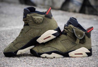 New 6 Medium Olive green low men basketball shoes 6s VI spor...