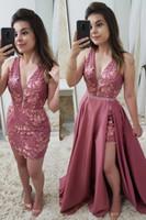 Сексуальные кружевные V-образные вырезывающие платья для вечеринки на выпускных вечеринках с съемной юбкой оболочкой пользовательские аппликации формальные вечерние одежды
