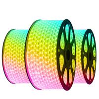 Tiras de LED 10M 50M 110V / 220V de alto voltaje SMD 5050 RGB llevó luces de tiras impermeables + IR teledirigido Fuente de alimentación +