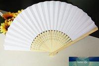 Ücretsiz Kargo Sıcak 1000 adet / lot Beyaz Katlama Şık Kağıt El Fan Düğün Parti Hediyeleri satan