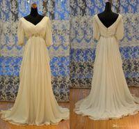 2020 Reale Fotos nach Maß V-Ausschnitt Chiffon- mit Rüschen besetzte Griechenland Stil Reich Brautkleider Brautkleider mit Ärmeln