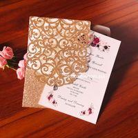 2020 Rose Gold Glittery Láser Corte Fiesta de Boda Invitaciones con Diamond Brillo Cena Invitaciones Impresión personalizada Tarjetas Quinceañeras