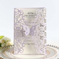 Invitaciones de la boda del corte del láser púrpura ligero con el sobre, DIY Flower Flower Butterfly Bridal / Negocio / Invitación del partido Envío gratis