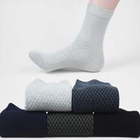 Bambu Elyaf Çorap Klasikleri Çorap Erkekler Erkek katı düz Kare Kafes Tüp Çorap Içinde Çift Iğne Iş Bölümü LJJA2822