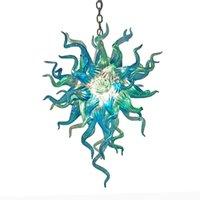 Aqua azul cadena longitud colgante lámparas de cristal soplado moderno chandeliers lightin para requisitos particulares Chihuly Style Araña para la sala de estar Luz de la casa