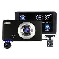 """4 """"شاشة تعمل باللمس سيارة DVR 3CH اندفاعة كام سيارة كاميرا فيديو 1080P FHD جبهة + الخلفي + 360 درجة للتدوير العدسة للانفصال 170 درجة 140 درجة من 120 درجة FOV"""