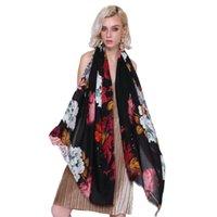 Livraison gratuite Flower écharpe Bureau Beach Head Châle Fashion Imprimer Wraps 90 * 180cm