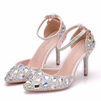 Свадебные туфли на высоком каблуке горный хрусталь Sapatos Femininos Женская вечеринка PROM Обувь Валентина Кристаллические насосы Bridesmaid обувь