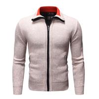 Herren Pullover Jugend Herbst und Winter Lässige Solid Color Plus-Samtverdickung Männer Stehkragen Langarm-Cardigan