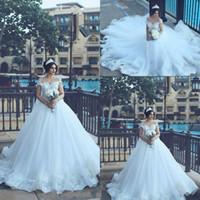 2019 Саид Мхамад Арабский Дубай Свадебные платья с открытыми плечами и бисером Винтажное кружево Vestido De Novia Аппликации Придворный поезд Свадебные платья