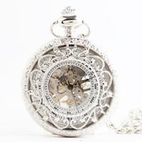 2018 regalos personalidad de la manera ahuecado bolsillo de la vendimia flor flip flip reloj hombres creativos relojes mecánicos mujeres