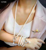 Женские ювелирные изделия 8-9 мм 75см микро-инкрустация циркона круглые аксессуары белые пресноводное жемчужное ожерелье