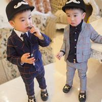 Çocuklar Düğün Çiçek Boys Resmi Suit Kat + Pantolon twinset 2 Adet Giyim P56 için Bahar Güz Bebek Çocuk Casual Balzer Ekose Suits