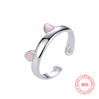 High quality solid 925 sterling silver adjustable cute pink ...