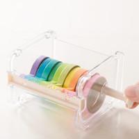 Beige Color Japonés Papelería Cinta Washi Cinta Adhesiva Organizador Oficina Almacenamiento Dispensador Suministros Suministros GRATUITO VENTA CALIENTE 2019 Nuevo