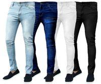 Мужской Одежда Мода Мужские Deaigner прямые джинсы сплошной цвет тощий карандаш штаны молния упругой силы Fly