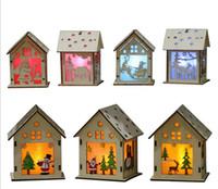 핫 Led 빛 목재 하우스 크리스마스 트리 장식 장식품 휴일 멋진 크리스마스 선물을 걸려