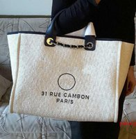 Best-selling High Quality Brand design XXL Handbag 1005 Grand Shopping Tote Chain Bag Denim fabric canvas Shoulder bag