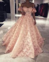 Prom Dresses Blush Pink Vintage Pizzo Arabo Arabo 2019 Off Spalla maniche corte Plus Size African Dubai Girls Pageant Abiti da festa di sera formale