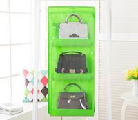 7 ألوان الرئيسية 6 جيوب حقيبة يد محفظة حقيبة التخزين شنقا كتب منظم خزانة خزانة شماعات مزدوجة من جانب EEA1419-7 شفاف طوي