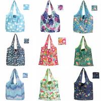 Grande sacchetto di acquisto pieghevole in poliestere Printted amichevole riutilizzabile di Eco spalla Sacchetto piegante del sacchetto di sacchetti di immagazzinaggio HHA635