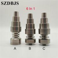 Gr2 G2 Domeless Titanium Ti prego 6 em 1 Fit para Ambos Masculino Feminino 10 milímetros 14 milímetros 18 milímetros de vidro Bong tubulação de água para Electronic Dabber prego Box Kit