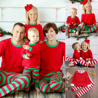 가족 매칭 빨간색 흰색 줄무늬 크리스마스 파자마 잠옷 키즈 크리스마스 잠옷 잠옷 새해를 설정합니다