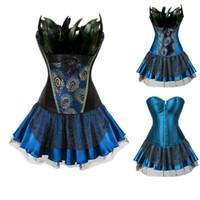 Donne Burlesque Corset Skirt Outfit Plus Size Feathers S-6XL Ruffle pavone del broccato del ricamo Overbust con Layered Mini Skirt TUTU