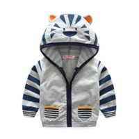 Outwear Printemps Automne enfants Veste garçons Cartoon Tiger Hat Zip T-shirt orange et gris Manteaux