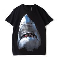 فاخر مصمم رجالي تي شيرت مصمم عارضة قصيرة الأكمام أزياء القرش الطباعة عالية الجودة الرجال النساء الهيب هوب تيز