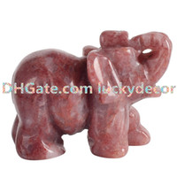 """10 Pz 1.5 """"Natural Strawberry Quarzo Cristallo Figurine Animali Selvatici Elefante Art Statua Minerale Roccia Intagliato A Mano Artigianato Feng Shui Reiki Decor"""