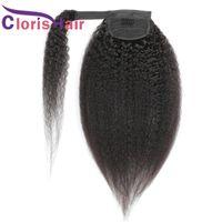 Kinky Düz Ponytails 100% Brezilyalı Virgin İnsan Saç Sarma Etrafında Klips Klipsler Siyah Kadınlar Için Kaba Yaki Gerçek Pony Kuyruk 100g