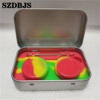 1pin 틴 실리콘 스토리지 키트 세트 2pcs 5ml 실리콘 왁 스 컨테이너 오일 항아리 기본 Dab Dabber 도구 금속 상자 케이스
